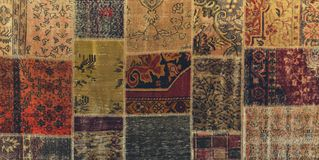 Stitched pieces of textures asian carpets royalty free stock photos