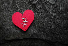 Stitched red heart stock photo