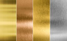 Stitched silver, gold and bronze metal texture. Stitched high quality silver, gold and bronze metal backgrounds Stock Image