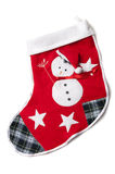 Stitched snowman on a red christmas sock. Stock Photos