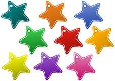 Stitched Stars Craft Tags. Stitched stars shape tags, craft style Stock Photo