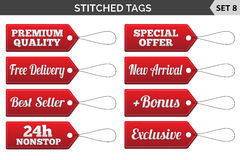 Stitched tags. Set 8. Vector illustration Stock Photography