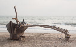 Stitched wooden boat. Fishing boats in Kannada Karnataka, India Royalty Free Stock Photo