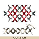 Stitches cross stich type . Collection of thread hand embroidery and sewing stitches. Vector illsutration of stitching examp. Stitches blanket stich type Stock Photos