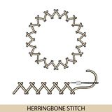 Stitches herringbone stich type . Collection of thread hand embroidery and sewing stitches. Vector illsutration of stitching. Stitches blanket stich type Stock Photos