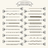 0415_11 stitches sewing. Collection of vector illustration sewing stitch patterns Royalty Free Stock Photo