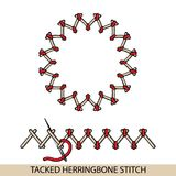 Stitches tacked herringbone stich type . Collection of thread hand embroidery and sewing stitches. Vector illsutration of st. Stitches blanket stich type Stock Photography