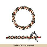 Stitches threaded running stich type vector. Collection of thread hand embroidery and sewing stitches. Vector illsutration of stit. Stitches treaded running Royalty Free Stock Photos