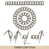 Stitches turkey loop stich type . Collection of thread hand embroidery and sewing stitches. Vector illsutration of stitching. Stitches blanket stich type Stock Image