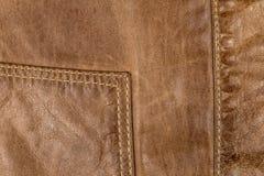 Stitching on leather jacket Royalty Free Stock Image