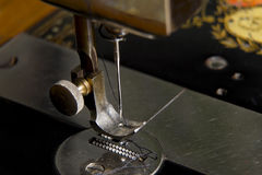 Stitching machine detail close-up Royalty Free Stock Photo