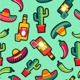 Stitching patches mexico icons seamless pattern Royalty Free Stock Photography