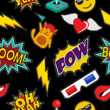 Stitching patches retro pop icons seamless pattern Stock Image