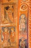 Stitinik -中世纪壁画在哥特式福音派教会里在从14 - 15分的Stitnik。 库存照片