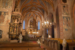 Stitnik -哥特式福音派教会在从14 - 15分的Stitnik。 免版税库存照片