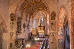 Stitnik -哥特式福音派教会在从14 - 15分的Stitnik。 库存图片