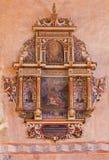 Stitnik -从哥特式福音派教会长老会的管辖区的新生巴洛克式的墓志铭在有先知的monive的约拿书Stitnik 免版税图库摄影