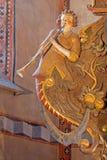 Stitnik -天使安心从哥特式福音派教会后新生主要法坛的在Stitnik从年(1636) 免版税库存图片