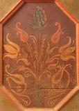 Stitnik -植物群动机细节在新生长凳的在哥特式福音派教会里在Stitnik 库存图片
