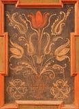 Stitnik -植物群动机细节在新生长凳的在哥特式福音派教会里在Stitnik 库存照片