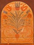 Stitnik -植物群动机细节在新生长凳的在哥特式福音派教会里在Stitnik 免版税库存照片