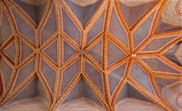 Stitnik -长老会的管辖区天花板在哥特式福音派教会里在从14 - 15分的Stitnik。 免版税库存图片