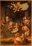 Stitnik - scène de nativité sur le bois de l'autel principal Renaissance-baroque de l'église évangélique gothique dans Stitnik par Photos stock