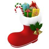 Stivale di Santa Claus farcito con i presente illustrazione 3D Fotografie Stock