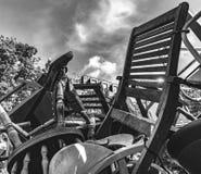 Stivale sulla gamba della sedia Fotografie Stock