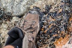 Stivali d'escursione impermeabili Fotografia Stock Libera da Diritti