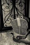 Stivali del cowgirl con i denti cilindrici Fotografia Stock