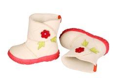 Stivali del feltro dei bambini immagini stock