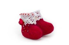Stivali del feltro di rosso Fotografie Stock Libere da Diritti