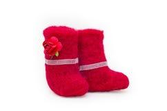 Stivali del feltro di rosso Fotografia Stock Libera da Diritti