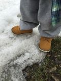 Stivali del lavoro di Little Boy Fotografia Stock