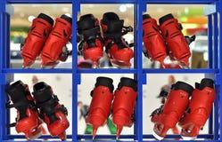 Stivali del pattino nei quadrati Immagine Stock