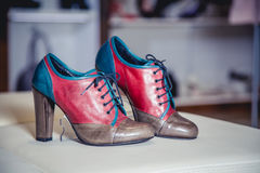 Stivali dell'autunno delle donne, scarpe italiane alla moda Fotografia Stock Libera da Diritti