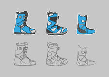 Stivali dello snowboard Fotografie Stock Libere da Diritti