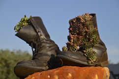 Stivali di combattimento d'annata decorati dell'esercito Immagini Stock