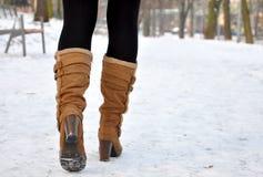 Stivali di cuoio del ginocchio Fotografia Stock