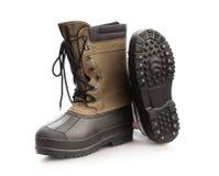 Stivali di cuoio di lavoro di altezza di Brown Fotografia Stock Libera da Diritti