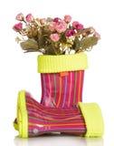Stivali di gomma dei bambini con l'inserzione e le rose del tessuto isolate Immagine Stock