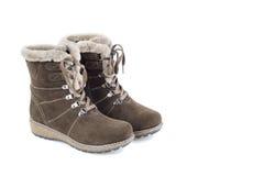 Stivali di inverno della pelle scamosciata della donna Immagini Stock Libere da Diritti