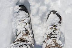 Stivali di inverno di Snowy Immagini Stock Libere da Diritti