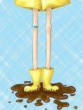 Stivali di pioggia fangosi Immagini Stock Libere da Diritti
