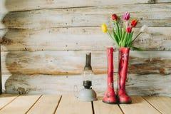 Stivali di pioggia variopinti con i fiori della molla e la lampada di oli in b di legno Fotografie Stock