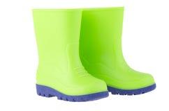 Stivali di pioggia verdi dei bambini Immagine Stock
