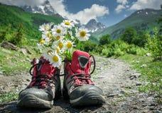 Stivali e paesaggio delle montagne Fotografia Stock