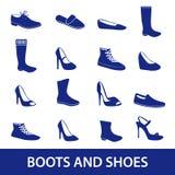 Stivali ed icone eps10 delle scarpe Fotografia Stock Libera da Diritti