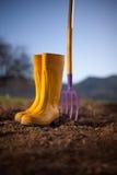 Stivali gialli Fotografie Stock Libere da Diritti
